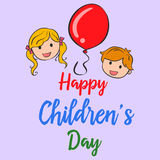 Happy childrens Day cute style background Royalty Free Stock Image