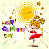 Happy Childrens Day. Greeting on a sunny background. Vector illustration.EPS Stock Photos