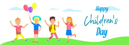 Cheerful Smiling Kids Stand on Grass. Vacation. Happy Childrens Day Horizontal Banner. Cute Cheerful Kids Stand on Grass. Smiling Girls with Balloons, Boys royalty free illustration