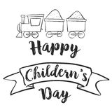 Happy Childrens Day with train Royalty Free Stock Photography