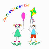 Happy childrens day. Vector illustration. International children`s day. Greeting card with hand drawn girl with a balloon and a boy with a kite. Vector Stock Photography