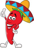 Happy chili cartoon with sombrero hat Royalty Free Stock Image