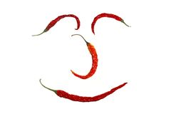 Happy Chilli Face. Happy Chili Face on White Background Royalty Free Stock Image