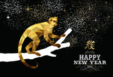 Happy china new year monkey gold low poly ape tree. 2016 Happy Chinese New Year of the Monkey with fancy gold low polygon triangle ape on tree branch. EPS10 royalty free illustration