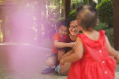 Happy Chinese family at leisure time royalty free stock photos