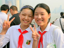 Two Chinese schoolgirls in uniform. Two Chinese schoolgirls on The Bund, Shanghai, China Royalty Free Stock Photography