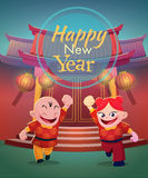 Happy chinese kids on chinese temple background Stock Photo