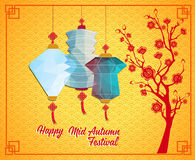 Happy Chinese Mid Autumn Festival or Lantern Festival with polygon style Stock Image