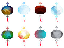 Happy Chinese Mid Autumn Festival or Lantern Festival with polygon style Royalty Free Stock Photo