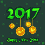 Happy Chinese New Rooster Year 2017 greeting background. In vector Stock Image