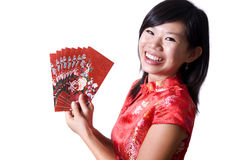 Happy Chinese New Year. Chinese New Year. Happy oriental girl with cheongsam wishing you a happy Chinese New Year Stock Photos