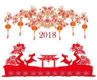 Happy Chinese new year 2018 card Stock Photos