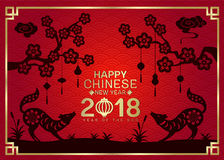 Happy Chinese New Year 2018 With Silhouette Paper Cut Dog Zodiac And China Knot Hang On Branches Flowers Tree Vector Design Stock Image