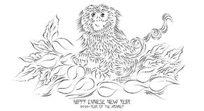 2016-Happy Chinese New Year. An abstract illustration of a New Year Greeting Card Royalty Free Stock Photos