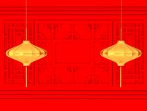 Happy Chinese new year 2018 , abstract on red background , minimal concept .3d rendering. 3d illustration Stock Images