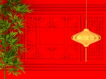 Happy Chinese new year 2018 , abstract on red background , minimal concept .3d rendering. 3d illustration Royalty Free Stock Photo