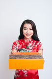 Happy Chinese new year. Asian woman with gesture of congratulation