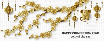 Free Happy Chinese New Year Background With Sakura Branches Creative Golden Rat And Hanging Lanterns. Gold Colored Template Stock Image - 167438141