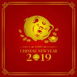 Happy chinese new year 2019 banner card with gold pig zodiac sign and china money coin and lantern on red background vector design royalty free illustration