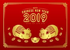 Happy chinese new year 2019 banner card with gold twin pig zodiac sign and china money coin red background vector design vector illustration