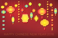 Happy Chinese new year 2018 banner. With shine bright paper lantern on red background Stock Photography
