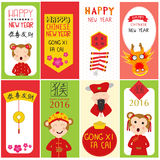 Happy Chinese New Year 2016 banners with kids in chinese costume. Vector illustration EPS10 Royalty Free Stock Photos