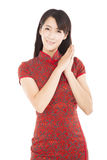 Happy chinese new year.beautiful chinese woman with wish gesture Royalty Free Stock Photos