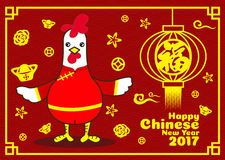 Happy Chinese new year 2017 card is Chicken cartoon in red Cheongsam dress and lanterns(Chinese word mean happiness) Royalty Free Stock Photos