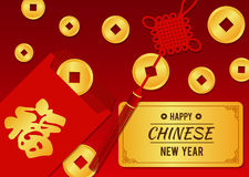 Happy chinese new year card - Chinese Angpao and gold coin Chinese word mean blessing Royalty Free Stock Photography