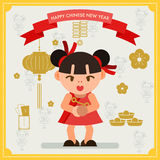 Happy Chinese new year card. Chinese girl greeting happiness. Royalty Free Stock Photography
