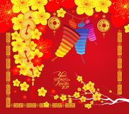 Happy Chinese new year 2017 card, Chinese lantern Stock Photography
