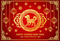 Happy Chinese new year card is Chinese Lantern and dog zodiac in chinese frame vector design Royalty Free Stock Photo