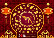 Happy Chinese new year 2018 card is Chinese Lantern and dog zodiac in circle frame door ,Chinese Gold Nugget vector design   Chin Stock Photo