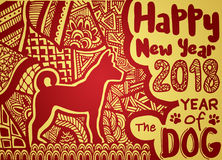 Happy Chinese new year card is Chinese Lantern and dog zodiac , Royalty Free Stock Images