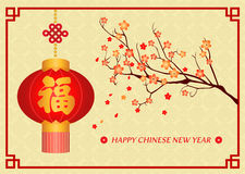 Happy Chinese new year card is  Chinese word mean Happiness  in lanterns and  flower on tree Stock Images