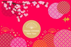 Happy Chinese New Year card. Colorful abstract geometric ornaments, blooming flowers and oriental lanterns on red background. Template for banners, posters Stock Photos