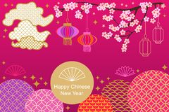 Happy Chinese New Year card. Colorful abstract ornate circles, clouds, blooming flowers and oriental lanterns. Template for banners, posters, party invitations Royalty Free Stock Images