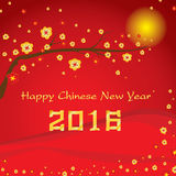 Happy Chinese New Year 2016 Card and colorful flower on red background. Vector royalty free illustration