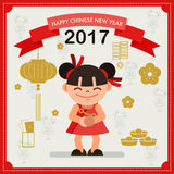 Happy Chinese new year 2017 card concept.  Chinese girl. Royalty Free Stock Photos