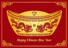 Happy Chinese new year card is Dragon in Gold money and Chinese word mean happiness Stock Photos
