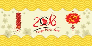 Happy chinese new year 2018 card and firecracker blossom background.  Stock Images
