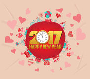 Happy Chinese New Year 2017 Card with gifts and heart Stock Image