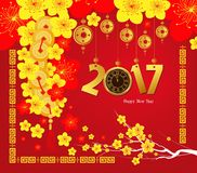 Happy Chinese new year 2017 card, Gold clock Stock Image