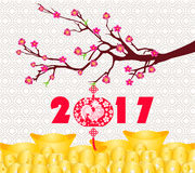 Happy Chinese new year 2017 card is  Gold coins money, lanterns, plum blossom Royalty Free Stock Photography