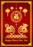 Happy Chinese new year card is  gold money and gold fish on water and Chinese word mean Happiness Stock Photos