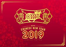 Happy chinese new year 2019 card with gold pig zodiac and flower in frame sign on red flower texture background vector design Stock Image