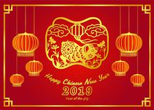 Happy chinese new year 2019 card with Gold pig zodiac sign and lantern on chinese frame and red background vector design Stock Photography