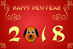 Happy chinese new year card illustration for 2018. The year of the dog Stock Illustration