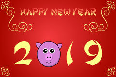 Happy chinese new year card illustration for 2019. The year of the pig Stock Image