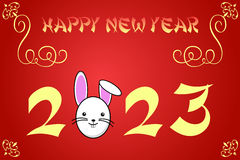 Happy chinese new year card illustration for 2023. The year of the rabbit vector illustration